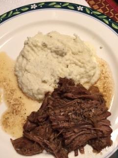 Slow Cooked Pot Roast and creamy cauliflower mashed