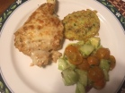 Fiesta Lime Chicken, Zucchini Cake with Feta & Green onion and Cucumber ,Tomato & Avocado salad