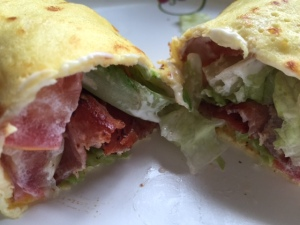 No grain , gluten free BLT wrap using Low carb ricotta crepes